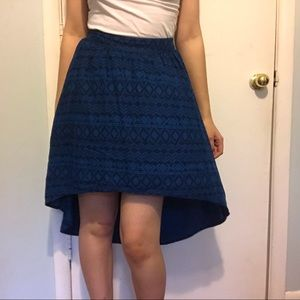 2/$20 Mossimo High-Low Blue Tribal Pattern Skirt